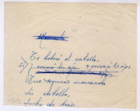 Primer poema manuscrito de Gamoneda.