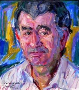 Retrato de Gamoneda realizado por Modesto Llamas Gil.
