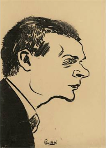 Georg Trakl retratado por Otto Pankok (1925).