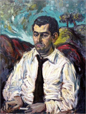 Gamoneda en los años 60, en un retrato del pintor Manuel Jular.