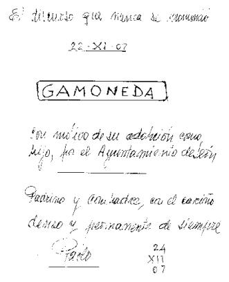 Portada del manuscrito del discurso de Pablo de la Varga.
