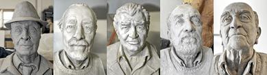 Bustos de escritores leoneses realizados por Amancio.