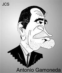 Antonio Gamoneda en una caricatura de Juan Carlos Suñén.