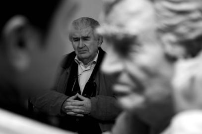 Antonio Gamoneda con el escultor Amancio González. © Foto: Amando Casado.