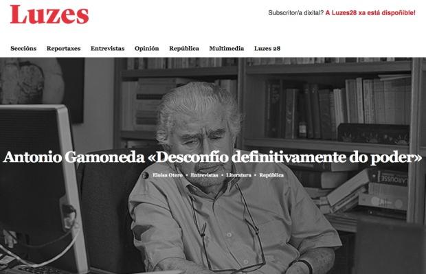 Entrevista a Gamoneda en la revista gallega Luzes.