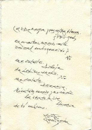 Gamoneda. Poema manuscrito.
