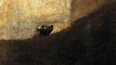 Detalle de 'Perro semihundido', una de las pinturas negras de Goya.