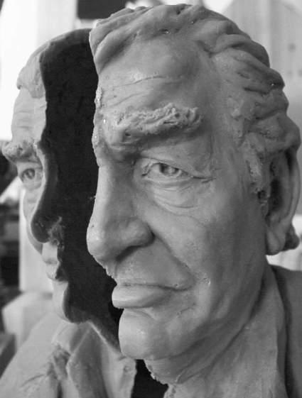 Molde de un busto de Gamoneda que fue llevado al bronce por el escultor Amancio González Andrés.