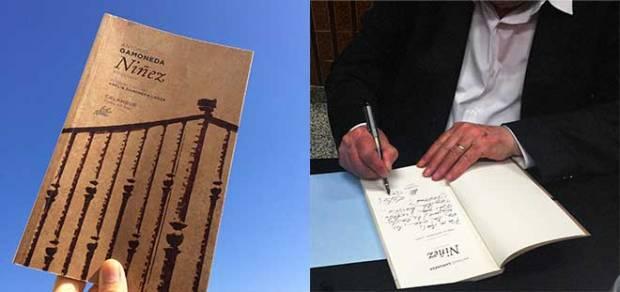 Antonio Gamoneda firma para Poética 2.0 un ejemplar de su antología 'Niñez', publicada este mismo año.