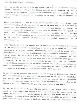 Carta de Gamoneda a LM Rabanal / 1.