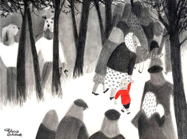 """© Ilustración de Patricia Gutiérrez para """"Descripción de la mentira"""" de Gamoneda. / continuidaddeloslibros.com"""