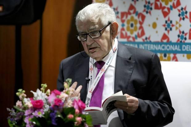 Antonio Gamoneda, en el Salón de Poesía de la FIL. Fotografía: FERNANDO CARRANZA-El País.